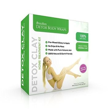 Detox Body Wrap Weight Loss (6 Applications) – Brazilian Silky n' Slim Volcanic Clay Organic Body Wrap Home Spa Treatment. Reduce Cellulite, Psoriases & Stretch Marks will Heal You from Inside