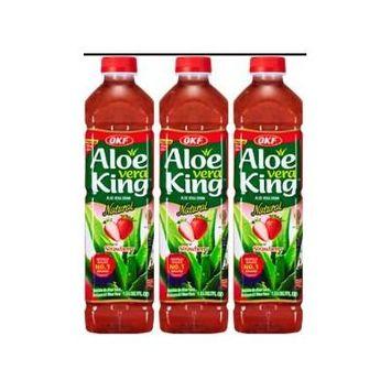 OKF Aloe Vera King Strawberry 1.5 Liter (Pack of 3)