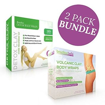 Brazilian Belle Detox Body Wraps Bundle - The Best Pure Healing Clay Home Spa Treatment for Weight Loss, Reduce Bloating, Diminish Cellulite, Psoriasis & Stretch Marks (16 Applications)