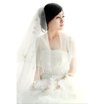 Soft Tulle Wedding Bridal Veil 1 Tier 2.8 Meters Long Cathedral Chapel Floor Veils with Elegant Embroidered Lace Trim for Women Bride(Pearl Flower Ivory 2.8m)