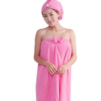 Fakeface Microfiber Hair-Drying Towel Hair Wrap Cap for Women