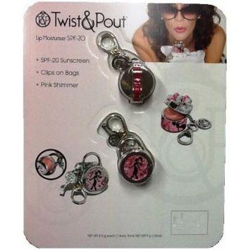 Twist & Pout: Lip Moisturizer SPF20 - Pink Shimmer Hat Box & Lock Charm (Pink French Twist Hat Box & Lock Charm)