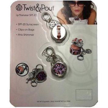 Twist & Pout: Lip Moisturizer SPF20 - Pink Shimmer Hat Box & Lock Charm (Pink/Purple Miss Kitty Hat Box & Lock Charm)