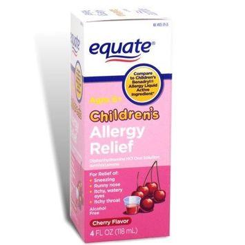 Equate - Children's Allergy Relief, Oral Solution, Cherry Flavor, 4 oz (Compare to Benadryl)