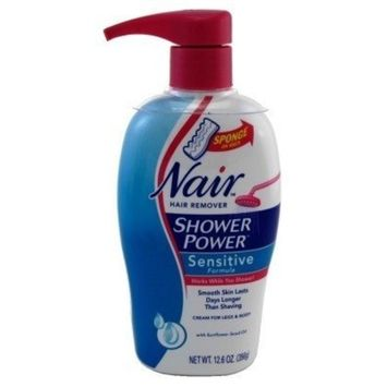 Nair Hair Remover Shower Power Sensitive 12.6oz Pump (3 Pack) by Nair