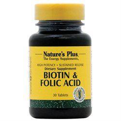 Nature's Plus Biotin and Folic Acid - 30 Tablets