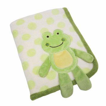 Koala Baby Super Soft Coral Fleece Baby Blanket, Green Frog Appliqued Coral Fleece, Green/Ivory/Yellow