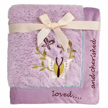 Koala Baby Super Soft Cuddle Plush Baby Blanket, Lavender Butterfly Loved & Cherished, Lavender/Aqua/Purple