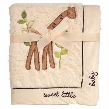 Koala Baby Super Soft Cuddle Plush Baby Blanket, Ivory Giraffe Sweet Little Baby, Ivory/Tan/Brown