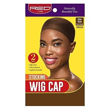 Red by Kiss Stocking Wig Cap 2pcs One Size, Dark Brown