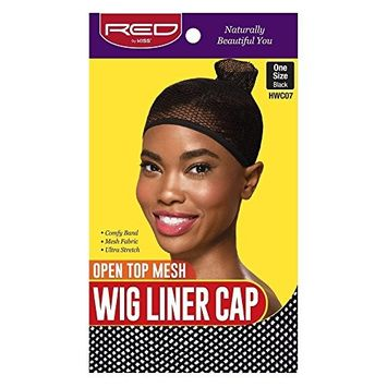 Red by Kiss Open Top Mesh Wig Liner Cap One Size, Black