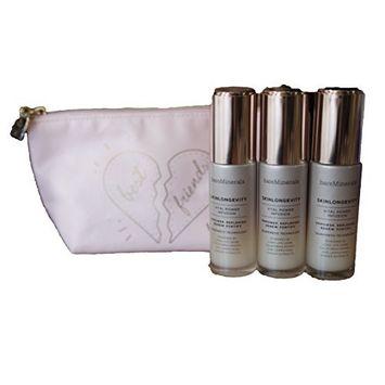 bareMinerals Skinsorials SkinLongevity Vital Power Infusion (30 ml/1 oz.) Set of 3 & Make Up Bag