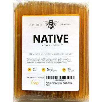 Native Honey Sticks (100 Pack) | Real, Uncut, Pure, Unfiltered, Natural, American Honey Straws | 100% Local, U.S. Grade A Original Clover Honey Stix | Great for Tea, Kids Snacks, Travels and Gifts