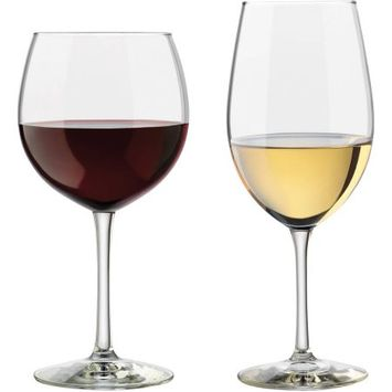 Libbey Vineyard Assorted Clear Wine Glasses, Set of 12