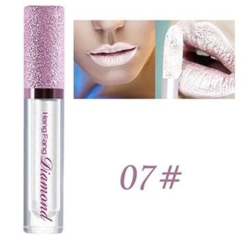 Creazy Shimmer Lipstick Diamonds Waterproof Long Lasting Lip Cosmetic Beauty Makeup (G)