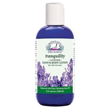 Montana Emu Ranch - Tranquility Hand and Body Lotion 8 Ounces - Made with Pure Lavender and Pure Emu Oil