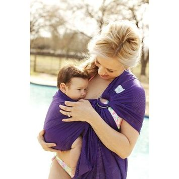 Beachfront Baby – Versatile Water & Warm Weather Ring Sling Baby Carrier | Made in USA with Safety Tested Fabric & Aluminum Rings | Lightweight, Quick Dry & Breathable