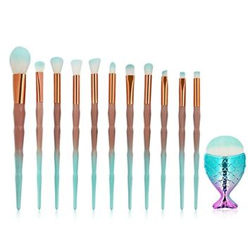 MAANG 12pcs Makeup Brush Set Eye Brush Set Unicorn Eyeshadow Eyeliner Blending Crease Kit Makeup Brushes Make Up Foundation Eyebrow Eyeliner Blush Cosmetic Concealer Brushes (Green)