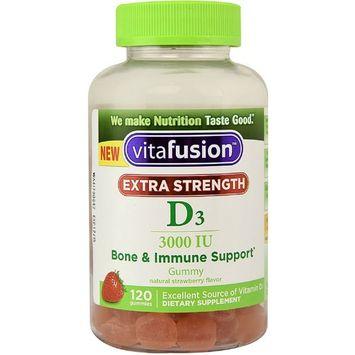 Vitafusion Extra Strength D3 Gummies, Natural Strawberry 120 ea