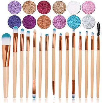 15+12 Best Makeup Set, MAANG 15pcs Makeup Brushes Foundation Eyelash Eyeshadow Eyebrow Eyeliner Concealer Brushes, 12 Colors Eyeshadow Palette Makeup Metallic Eye Shadow Palette