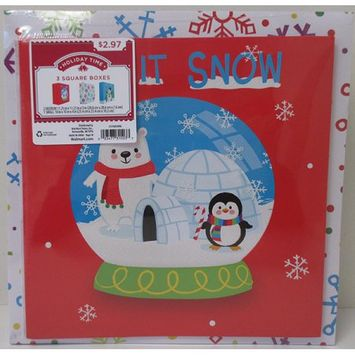 Ideal Box Company HOLIDAY TIME - 3 PACK SQUARE GIFT BOX ASSORTMENT, PRINT, LET IT SNOW, GLITTER ACCENT