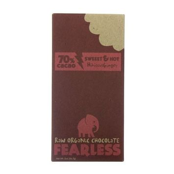 Fearless Raw Organic Chocolate 70% Cacao, Sweet & Hot Hibiscus Ginger, 2-ounce Bar (Pack of 11)