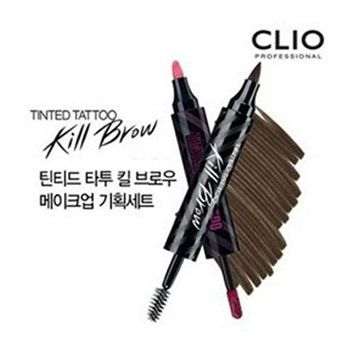 [CLIO] TINTED TATTOO Kill Brow Eyebrow Pen / Mascara + Free Lip TATTOO / 1.Earth Brown by Clio : Beauty