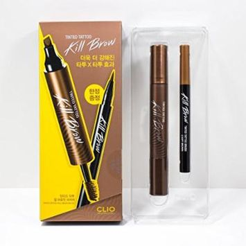 CLIO Tinted Tattoo Kill Brow Master Set (Tattoo Pen + Brow Mascara + Tinted Tattoo Brush liner) #2 Soft Brown