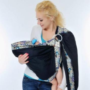 Soft Baby Wrap Cotton Baby Ring Sling Carrier Nursing Cover Baby Holder For Newborns Infants Toddlers ( Dark Blue )