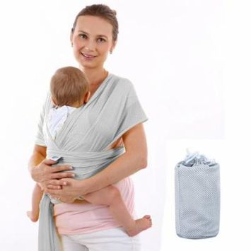 Baby Carrier Sling For Newborns Soft Infant Wrap Breathable Wrap Hipseat Breastfeed Birth Comfortable Nursing Cover ( Grey )
