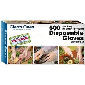 Clean Ones Disposable Gloves, One Size Fits All, 500 Count (5 Pack)