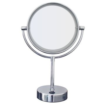Gloriastar LED Lighted Makeup Mirror, 1x/5x magnification, 7-Inch,Polished Chrome Finish