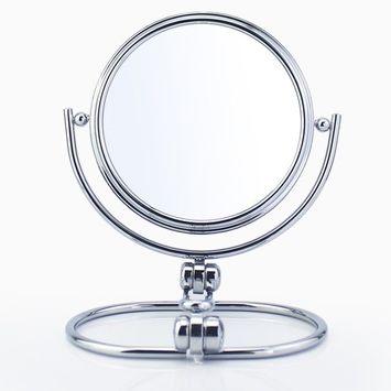 Gloriastar 5.5-Inch Folding Travel Mirror with 1X/5X Magnification,Brushed Nickel Finish