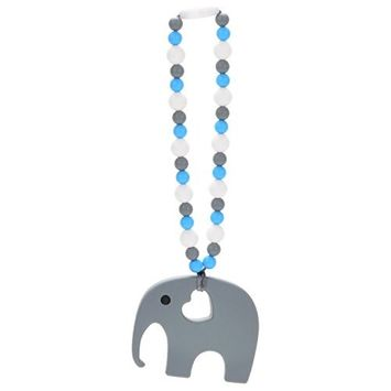 Nummy Beads Yellow Elephant Teether Toy Attaches To Baby Carrier, Car Seat, High Chair, Stroller or Diaper Bag
