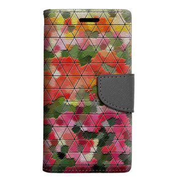 Samsung Galaxy J3 Sky Wallet Case - Geometric Blood Orange Mosaic