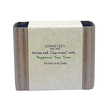 All Natural, Vegan Organic Handmade Moisturizing Soap Bar with Olive Oil, Organic Activated Charcoal and Essential Oils by Lynne Leea (Peppermint Tea Tree Activated Charcoal)