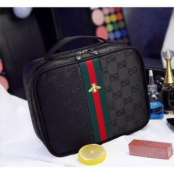 Cosmetic Makeup Bag / Portable Travel Toiletry Bag Cosmetic Pouch, Embroidery Style Double Zipper Waterproof Storage Makeup Bags for Women Skincare(Black)