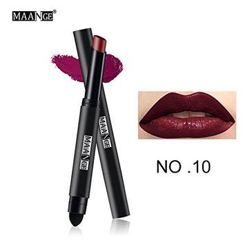 MAANGE Waterproof Long Lasting Lip Pen Matte Lip Gloss Lip Liner Cosmetics
