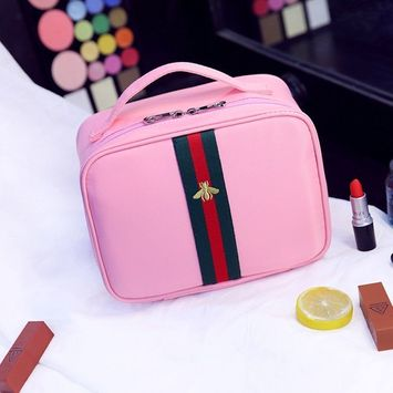 Portable Travel Makeup Bag / Multifunctional Travel Toiletry Bag Cosmetic Makeup Pouch, Embroidery style Double Zipper Waterproof Cosmetic Makeup Bag Organizer (Pink)