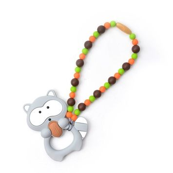Nummy Beads Gray & Blue Raccoon Teether Toy Attaches to Baby Carrier, Car Seat, High Chair, Stroller or Diaper Bag