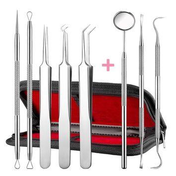 ElleSye 8 PACK Blackhead Remover Tweezer Kit & Dental Tools, Blackhead Tools for Comedone Extractor Whitehead Acne Blemish Pimple Remover, Dental Pick, Tartar Plaque Remover, Dental Set for Oral Care