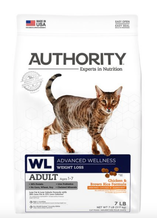 Authority® Advanced Wellness Weight Loss Adult Cat Dry Food - Chicken & Brown Rice