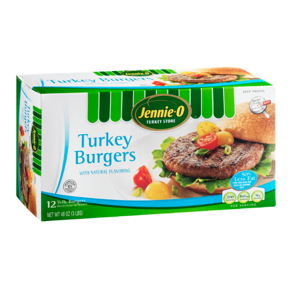 Jennie-O 1/4 Lb Turkey Burgers with Natural Flavoring - 12 CT