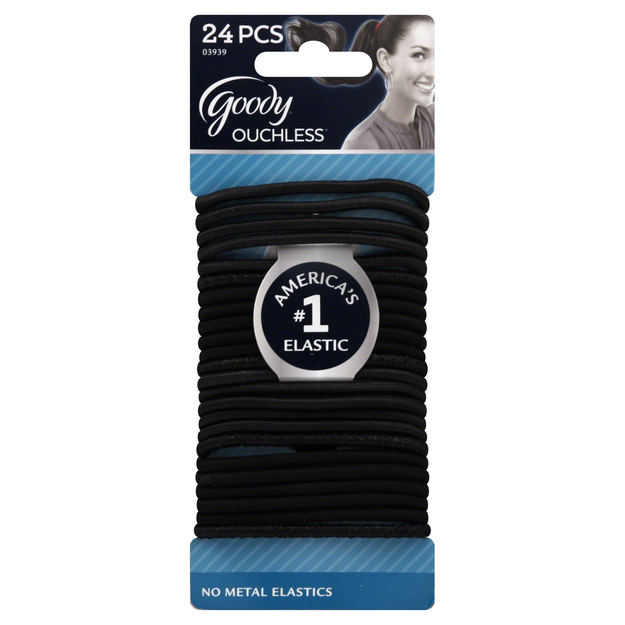 Goody Products Inc. Ouchless 4mm Elastics, Black on Black, 24 CT