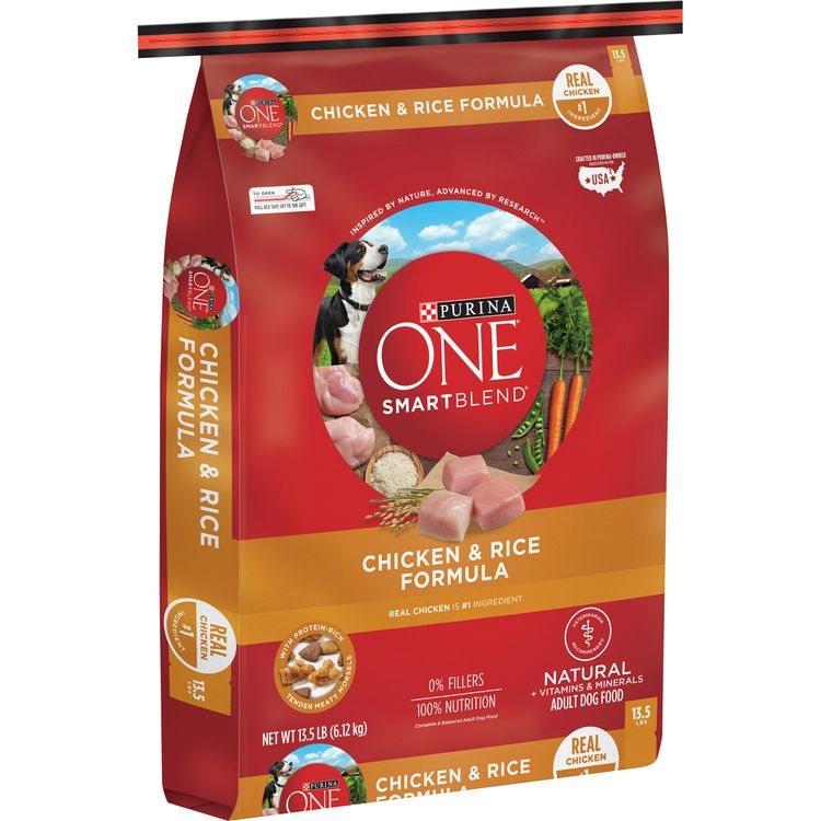 purina one natural dry dog food; smartblend chicken & rice formula -