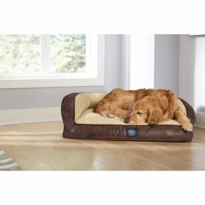 Serta Brown/Ivory Beige Pleather 4-inch High x 24-inch Wide x 34-inch Long Large Orthopedic Quilted Couch Deluxe Pet Bed
