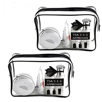 WODISON TSA Approved Clear Travel Toiletry Bags Cosmetic Makeup Cases with Zipper 2 Pieces