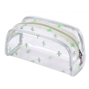 WODISON Clear Travel Cosmetic Bag Makeup Train Case Organizer with Top Handle Small