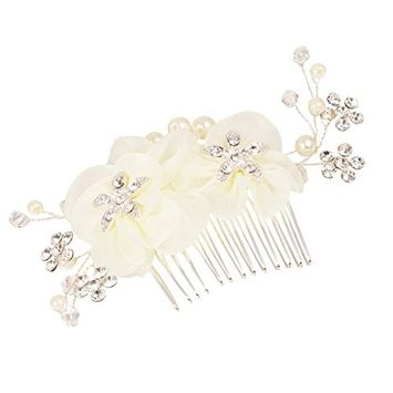 MonkeyJack Romantic Girls Crystal Beige Flower Hair Comb Wedding Party Bridal Accessory
