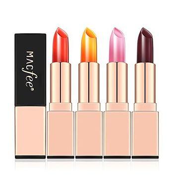 Alonea Jelly Lipstick, Beauty Bright Crystal Jelly Lipstick Magic Temperature Change Color Lip Stick 4 Pack